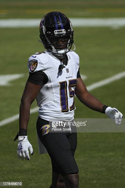 Wide receiver Marquise Brown of the Baltimore Ravens warms up before playing against the Washington Football Team during the first half at FedExField...