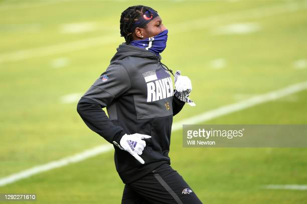 Wide receiver Marquise Brown of the Baltimore Ravens warms up prior to their game at against the Jacksonville Jaguars M&T Bank Stadium on December...