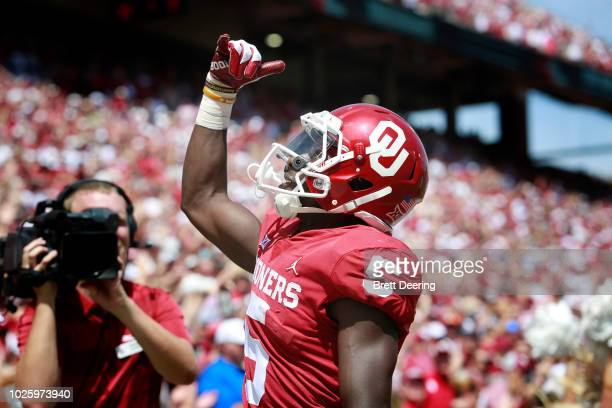 Wide receiver Marquise Brown of the Oklahoma Sooners celebrates a touchdown against the Florida Atlantic Owls at Gaylord Family Oklahoma Memorial...