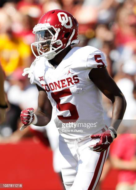Wide receiver Marquise Brown of the Oklahoma Sooners celebrates after scoring a touchdown in the first half of play against the Iowa State Cyclones...