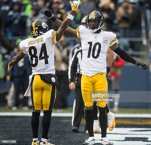Wide receiver Martavis Bryant of the Pittsburgh Steelers celebrates scoring a touchdown with teammate Antonio Brown of the Pittsburgh Steelers during...