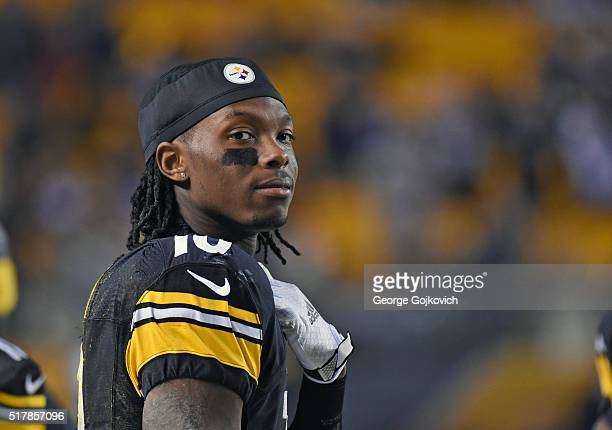 Wide receiver Martavis Bryant of the Pittsburgh Steelers looks on from the sideline during a game against the Indianapolis Colts at Heinz Field on...