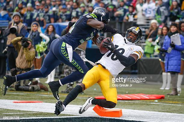 Wide receiver Martavis Bryant of the Pittsburgh Steelers scores a touchdown against strong safety Kam Chancellor of the Seattle Seahawks in the...