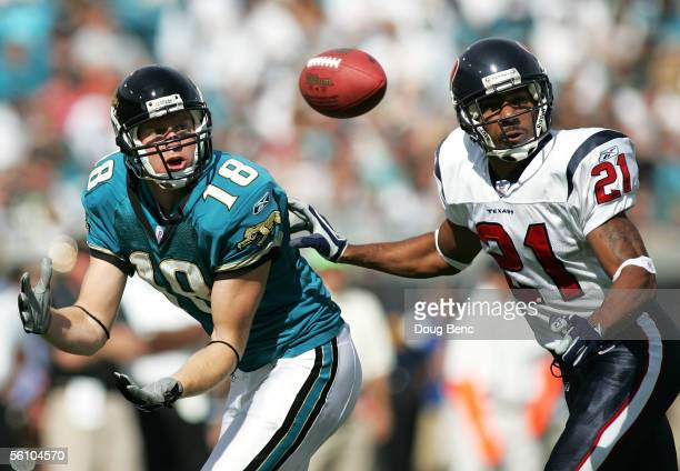 Wide receiver Matt Jones of the Jacksonville Jaquars catches a pass in front of cornerback Lewis Sanders of the Houston Texans on November 6, 2005 at...