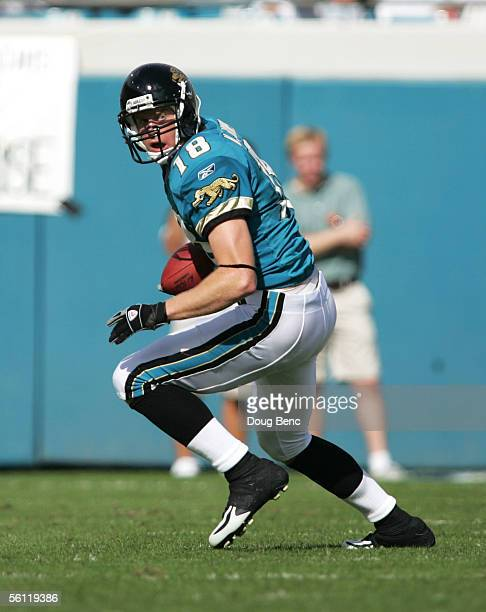 Wide receiver Matt Jones of the Jacksonville Jaquars looks for room to run after catching a pass against the Houston Texans on November 6, 2005 at...