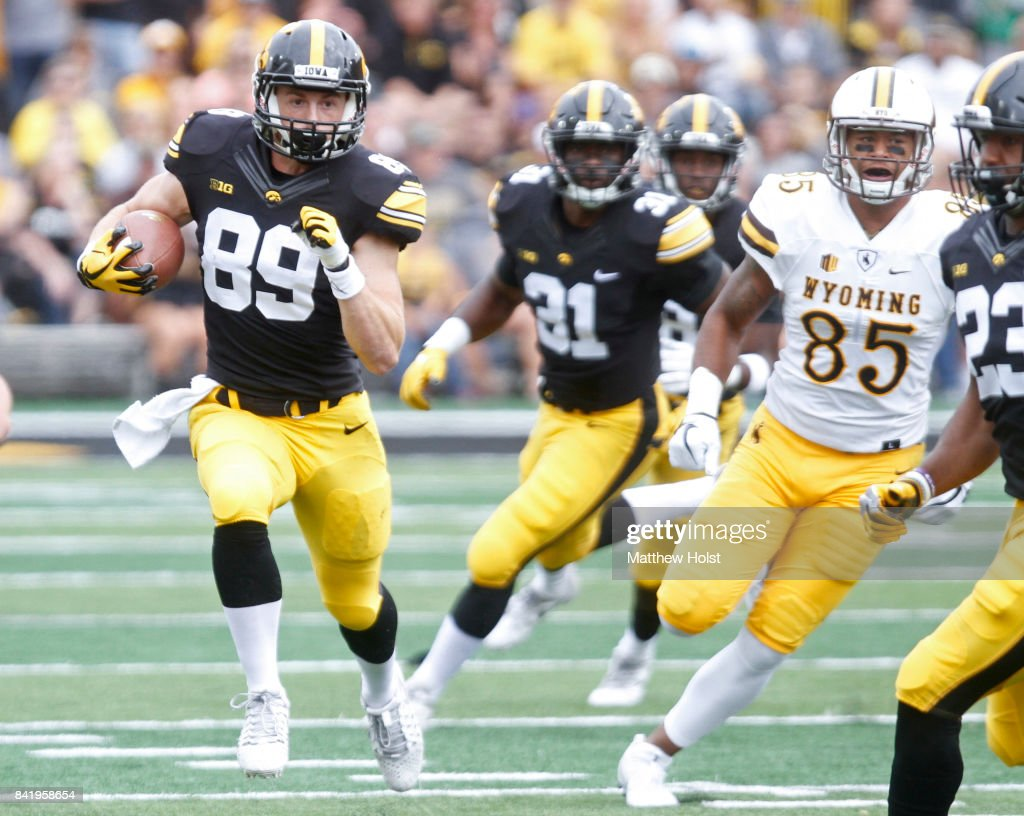Wide receiver Matt VandeBerg #89 of the Iowa Hawkeyes rushes up field on a return during the first quarter against the Wyoming Cowboys on September 2, 2017 at Kinnick Stadium in Iowa City, Iowa.