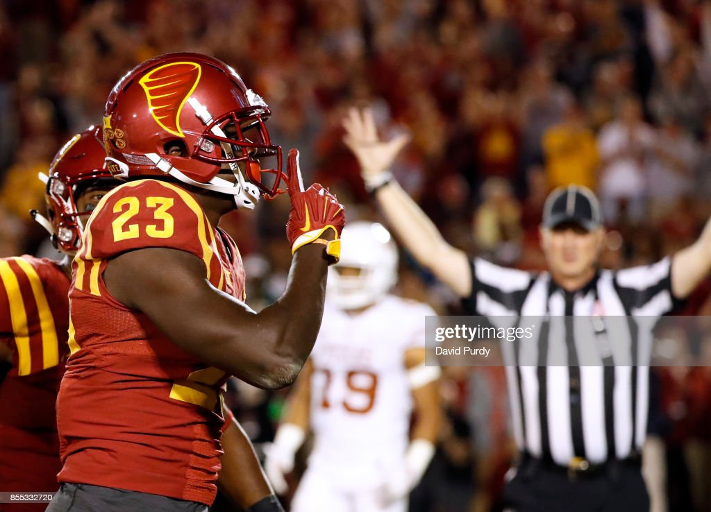 Wide receiver Matthew Eaton #23 of the Iowa State Cyclones celebrates after scoring a touchdown in the second half of play against the Texas Longhorns at Jack Trice Stadium on September 28, 2017 in Ames, Iowa. The Texas Longhorns won 17-7 over the Iowa State Cyclones.