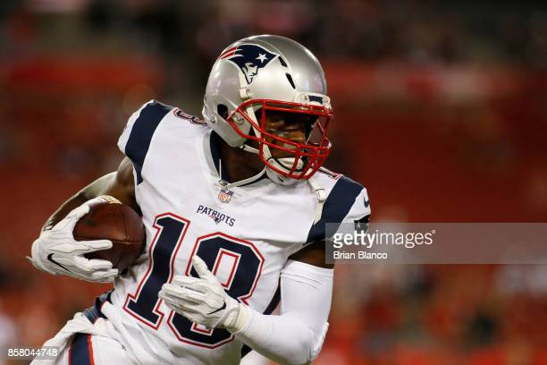 Wide receiver Matthew Slater of the New England Patriots warms up before the start of an NFL football game against the Tampa Bay Buccaneers on...