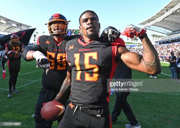Wide receiver McBride Tre of the LA Wildcats flexes for the crowd after a touchdown catch in the second half of the XFL game against the DC Defenders...