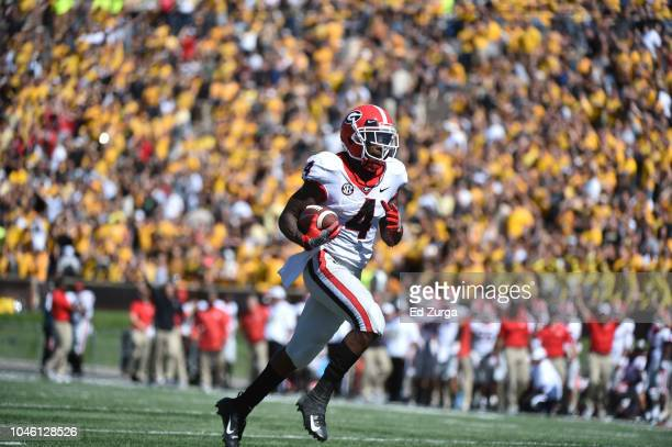 Wide receiver Mecole Hardman of the Georgia Bulldogs catches a pass against the Missouri Tigers at Memorial Stadium on September 22 2018 in Columbia...