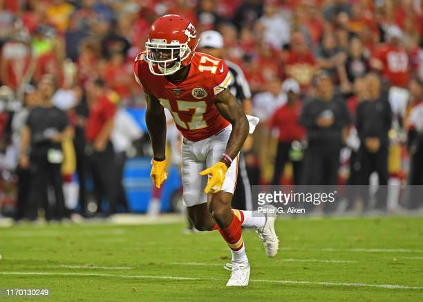 Wide receiver Mecole Hardman of the Kansas City Chiefs runs down field during the first half of a preseason game at Arrowhead Stadium on August 24...