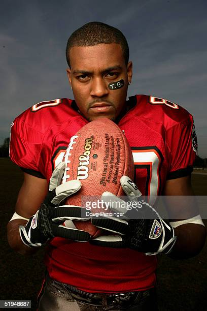 Wide receiver Michael Clayton of the Tampa Bay Buccaneers poses for a photo shoot on January 6 2005 in Tampa Florida