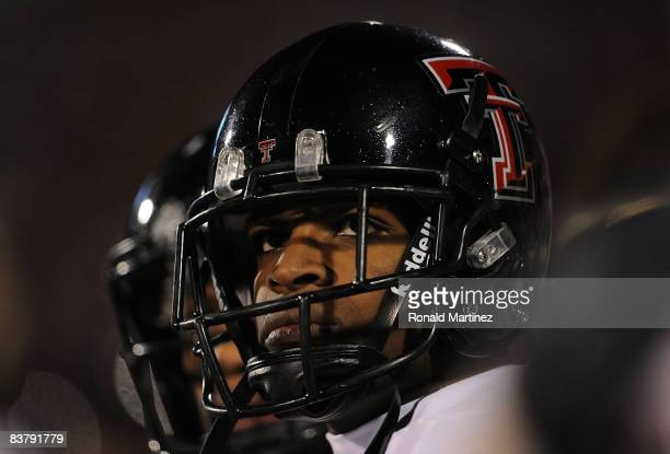 Wide receiver Michael Crabtree of the Texas Tech Red Raiders on the sidelines during a 65-21 loss against the Oklahoma Sooners at Memorial Stadium on...