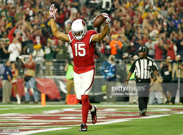 Wide receiver Michael Floyd of the Arizona Cardinals celebrates his 9yard fourth quarter touchdown catch in the NFC Divisional Playoff Game against...