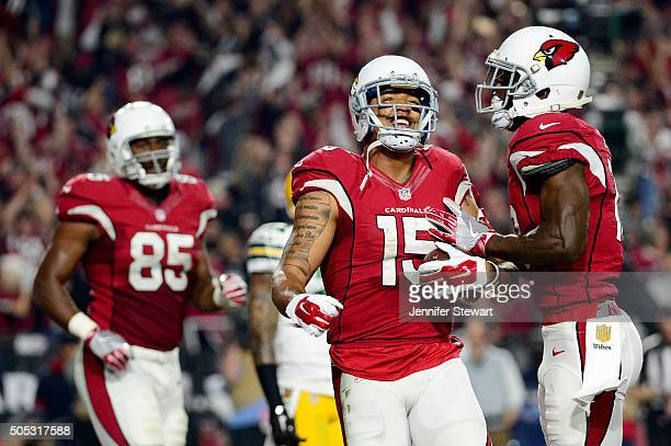 Wide receiver Michael Floyd of the Arizona Cardinals celebrates his 9yard fourth quarter touchdown catch with teammates in the NFC Divisional Playoff...