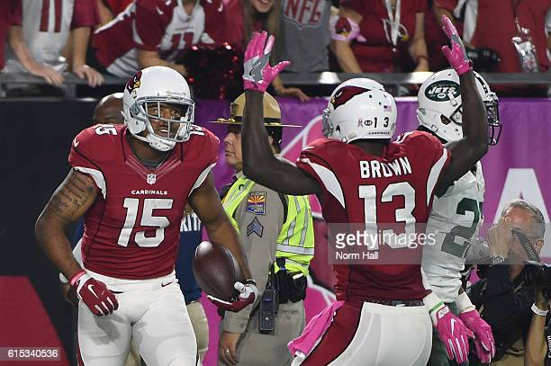 Wide receiver Michael Floyd of the Arizona Cardinals celebrates with wide receiver Jaron Brown after catching a nine yard touchdown reception during...