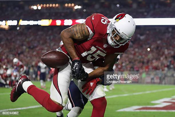 Wide receiver Michael Floyd of the Arizona Cardinals is unabe to catch a pass during the NFL game against the New England Patriots at the University...