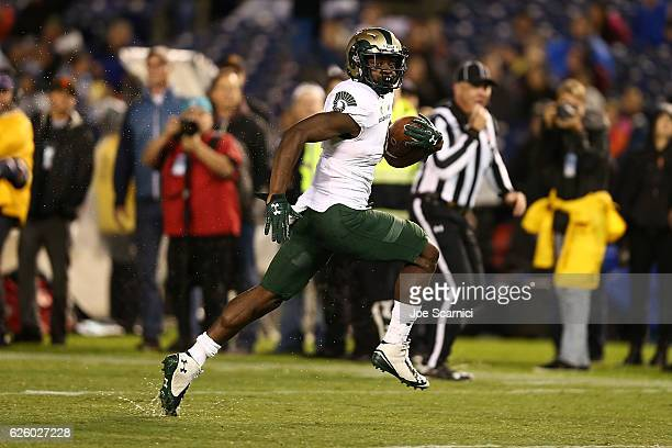 Wide receiver Michael Gallup of the Colorado State Rams runs the ball 18 yards for a touchdown in the second quarter against the San Diego State...