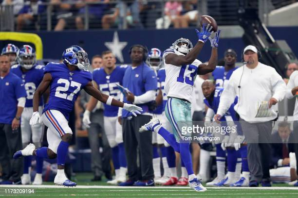 Wide receiver Michael Gallup of the Dallas Cowboys makes a reception during the second quarter of the game against New York Giants at ATT Stadium on...