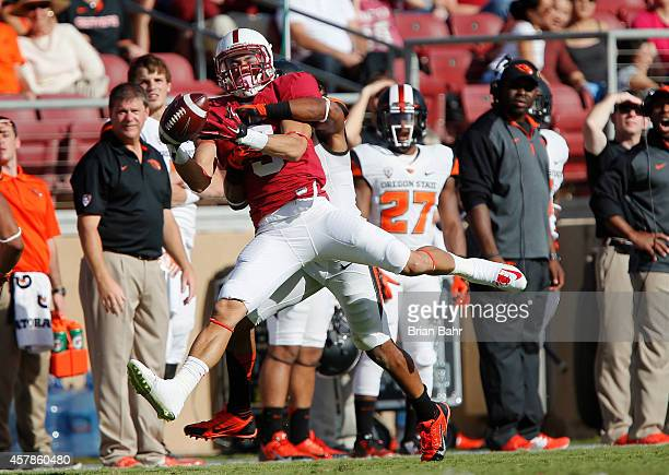 Wide receiver Michael Rector of the Stanford Cardinal can't hold onto a pass against the Oregon State Beavers in the fourth quarter on October 25...