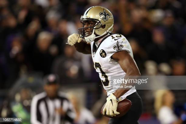 Wide Receiver Michael Thomas of the New Orleans Saints celebrates after catching a touchdown in the fourth quarter against the Baltimore Ravens at MT...