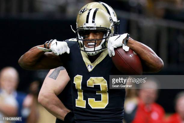Wide receiver Michael Thomas of the New Orleans Saints celebrates after a touchdown in the second quarter of the game against the Indianapolis Colts...