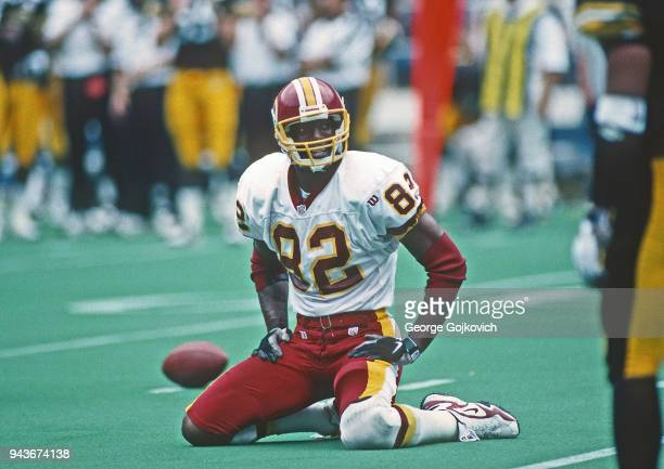 Wide receiver Michael Westbrook of the Washington Redskins looks on from the field during a game against the Pittsburgh Steelers at Three Rivers...