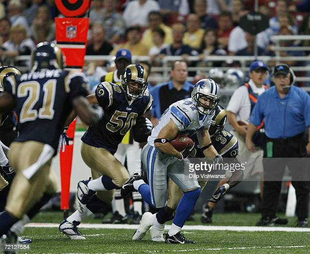 Wide receiver Mike Furrey of the Detroit Lions runs with the ball against the St Louis Rams at Edward Jones Dome on October 1 2006 in St Louis...