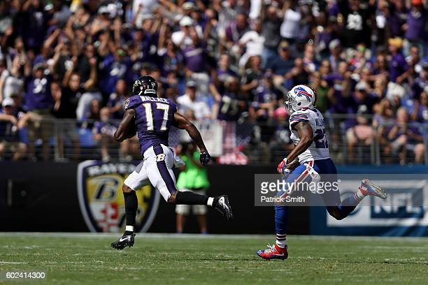 Wide receiver Mike Wallace of the Baltimore Ravens catches a touchdown pass in the second quarter of the game at MT Bank Stadium on September 11 2016...