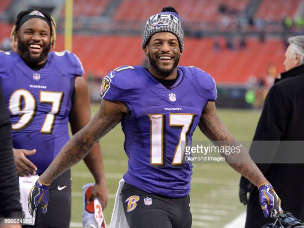 Wide receiver Mike Wallace of the Baltimore Ravens walks off the field after a game on December 17 2017 against the Cleveland Browns at FirstEnergy...