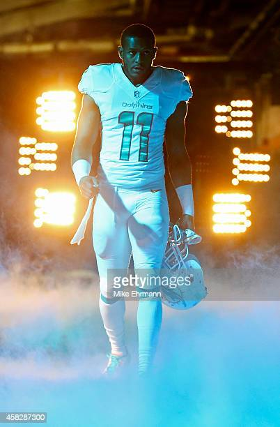 Wide receiver Mike Wallace of the Miami Dolphins walks to the field forthe start of play between the Dolphins and the San Diego Chargers in a game at...
