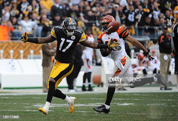 Wide receiver Mike Wallace of the Pittsburgh Steelers reacts after a pass is deflected by safety Chris Crocker of the Cincinnati Bengals during a...