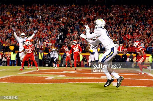 Wide receiver Mike Williams of the Los Angeles Chargers catches a twopoint conversion with 4 seconds remaining in the game to put the Chargers up...