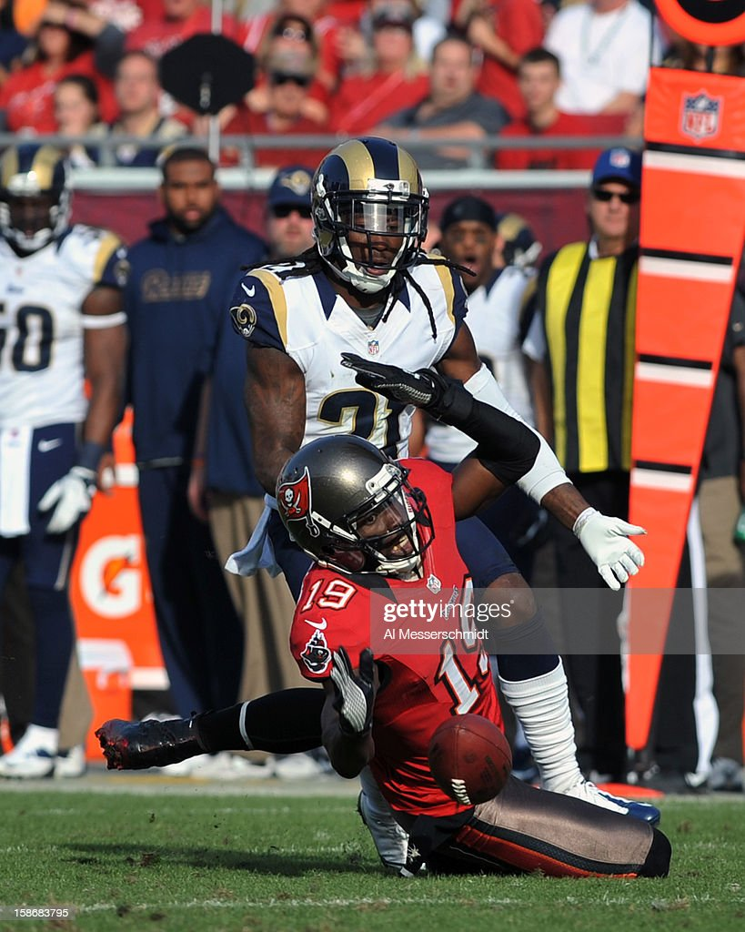 Wide receiver Mike Williams #19 of the Tampa Bay Buccaneers dives for a pass against the St. Louis Rams December 23, 2012 at Raymond James Stadium in Tampa, Florida. The Rams won 28 - 13.