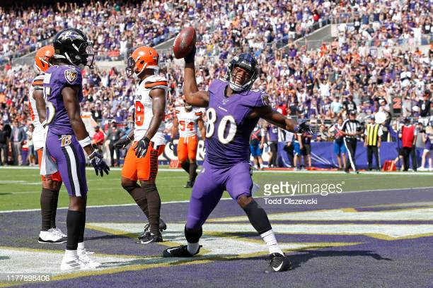 Wide Receiver Miles Boykin of the Baltimore Ravens celebrates after scoring a touchdown in the first half against the Cleveland Browns at MT Bank...