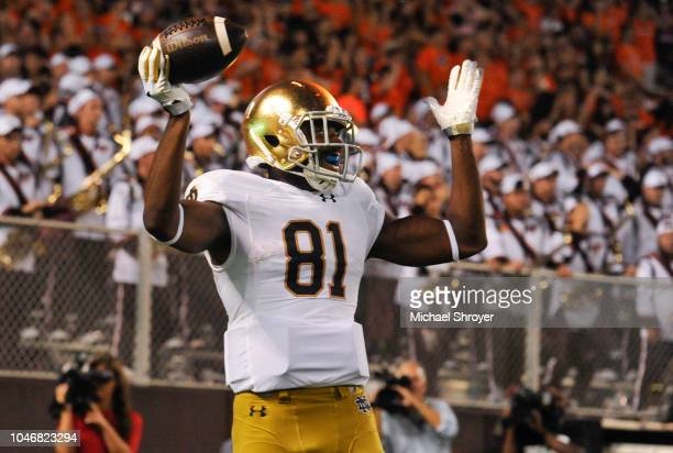 Wide receiver Miles Boykin of the Notre Dame Fighting Irish celebrates his touchdown reception against the Virginia Tech Hokies in the second half at...
