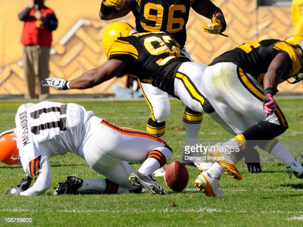 Wide receiver Mohamed Massaquoi of the Cleveland Browns left the game with a concussion after this hit by linebacker James Harrison of the Pittsburgh...