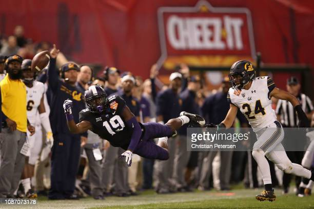Wide receiver Ni'Jeel Meeking of the TCU Horned Frogs is unable to catch a pass ahead of cornerback Camryn Bynum of the California Golden Bears...