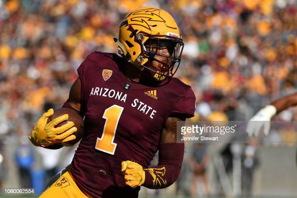Wide receiver N'Keal Harry of the Arizona State Sun Devils carries in the second half against the UCLA Bruins at Sun Devil Stadium on November 10...