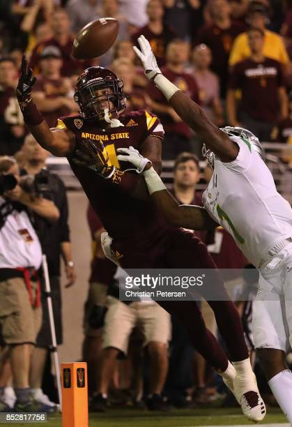 Wide receiver N'Keal Harry of the Arizona State Sun Devils catches a pass out of bounds against the Oregon Ducks during the second half of the...