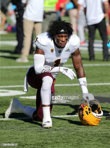 Wide receiver N'Keal Harry of the Arizona State Sun Devils kneels down prior to a game against the Arizona Wildcats at Arizona Stadium on November 24...
