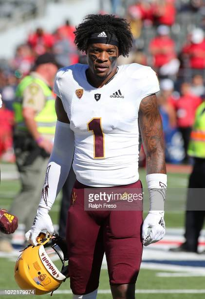Wide receiver N'Keal Harry of the Arizona State Sun Devils looks on prior to a college football game against the Arizona Wildcats at Arizona Stadium...
