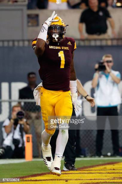 Wide receiver N'Keal Harry of the Arizona State Sun Devils reacts after a fourth quarter touchdown during the college football game against the...