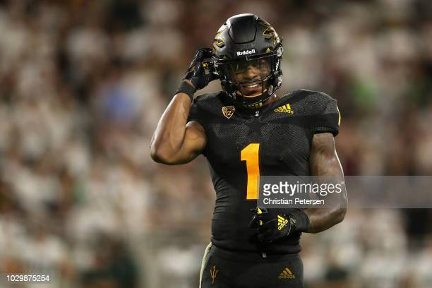 Wide receiver N'Keal Harry of the Arizona State Sun Devils reacts during the final moments of the college football game against the Michigan State...
