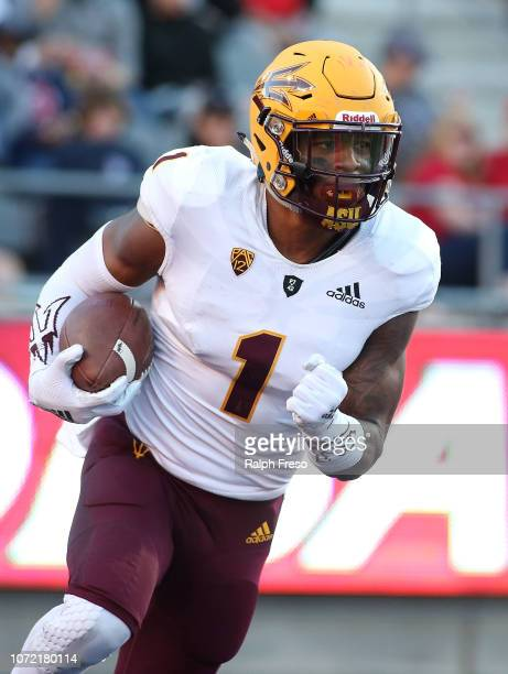 Wide receiver N'Keal Harry of the Arizona State Sun Devils runs with the ball during the second half of a college football game against the Arizona...