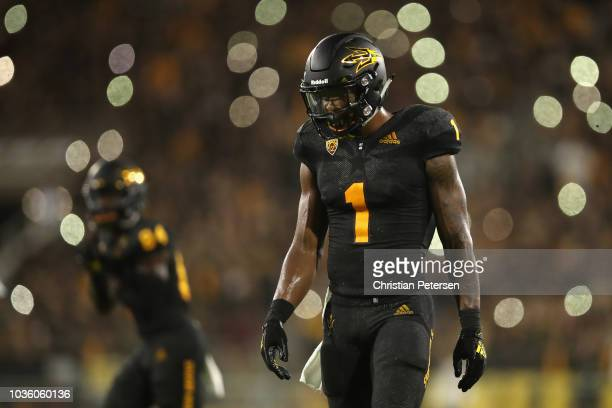 Wide receiver N'Keal Harry of the Arizona State Sun Devils walks on the field during the college football game against the Michigan State Spartans at...