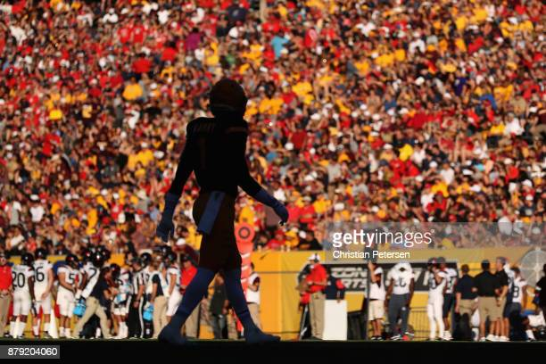 Wide receiver N'Keal Harry of the Arizona State Sun Devils walks onto the field during the first half of the college football game against the...