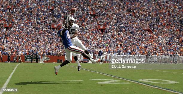 Wide receiver Nyan Boateng of the University of Florida goes up for an incomplete pass against defensive back De'Mon Glanton of Mississippi State on...