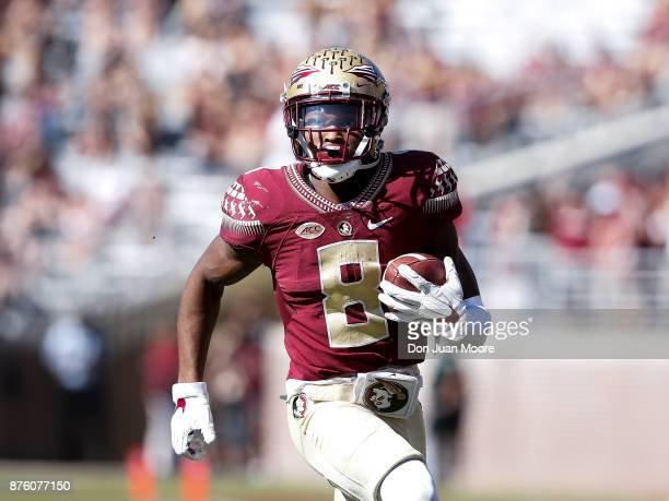 Wide Receiver Nyqwan Murray of the Florida State Seminoles on a run during the game against the Delaware State Hornets at Doak Campbell Stadium on...