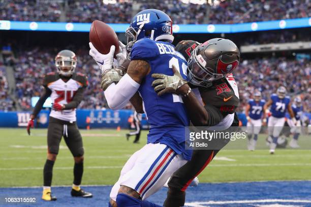Wide receiver Odell Beckham Jr #13 of the New York Giants scores a touchdown against safety Isaiah Johnson of the Tampa Bay Buccaneers during the...